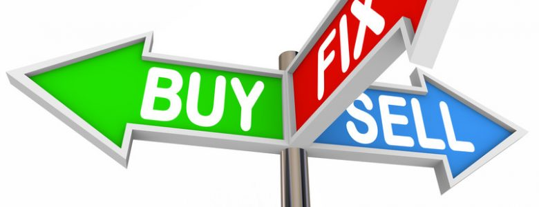 Buy, sell, fix and flip profits concept